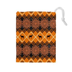 Traditiona  Patterns And African Patterns Drawstring Pouches (Large)