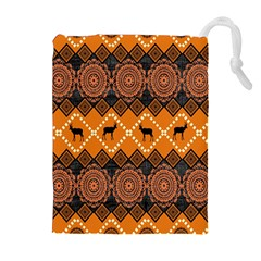Traditiona  Patterns And African Patterns Drawstring Pouches (Extra Large)