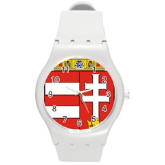 Medieval Coat of Arms of Hungary  Round Plastic Sport Watch (M)
