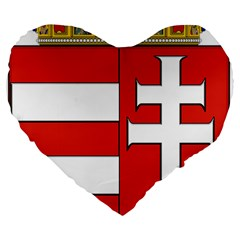 Medieval Coat of Arms of Hungary  Large 19  Premium Heart Shape Cushions