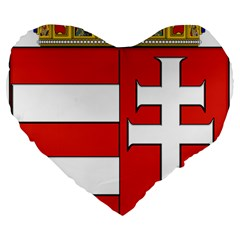 Medieval Coat of Arms of Hungary  Large 19  Premium Flano Heart Shape Cushions
