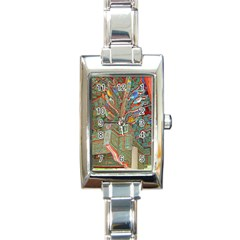 Traditional Korean Painted Paterns Rectangle Italian Charm Watch