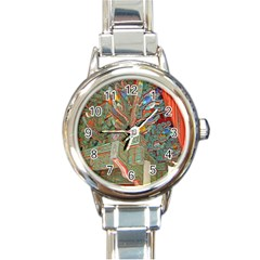 Traditional Korean Painted Paterns Round Italian Charm Watch