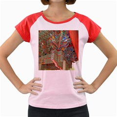 Traditional Korean Painted Paterns Women s Cap Sleeve T-Shirt