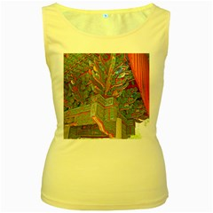 Traditional Korean Painted Paterns Women s Yellow Tank Top