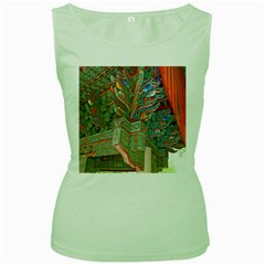 Traditional Korean Painted Paterns Women s Green Tank Top