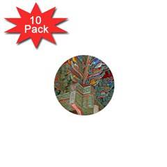 Traditional Korean Painted Paterns 1  Mini Buttons (10 pack)