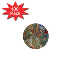 Traditional Korean Painted Paterns 1  Mini Buttons (100 pack)
