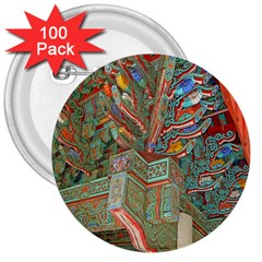 Traditional Korean Painted Paterns 3  Buttons (100 pack)