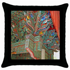 Traditional Korean Painted Paterns Throw Pillow Case (Black)
