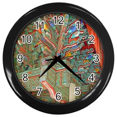 Traditional Korean Painted Paterns Wall Clocks (Black)