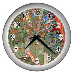 Traditional Korean Painted Paterns Wall Clocks (Silver)