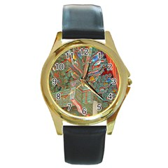 Traditional Korean Painted Paterns Round Gold Metal Watch
