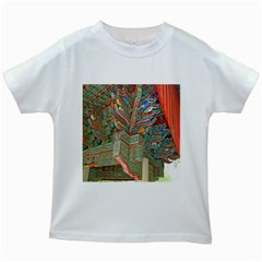 Traditional Korean Painted Paterns Kids White T-Shirts