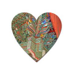Traditional Korean Painted Paterns Heart Magnet