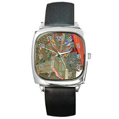 Traditional Korean Painted Paterns Square Metal Watch