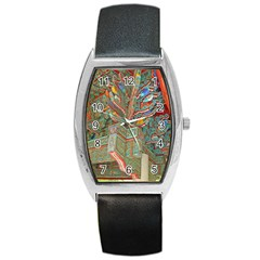 Traditional Korean Painted Paterns Barrel Style Metal Watch