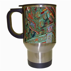 Traditional Korean Painted Paterns Travel Mugs (White)