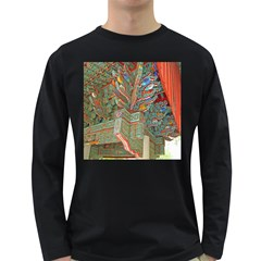 Traditional Korean Painted Paterns Long Sleeve Dark T Shirts