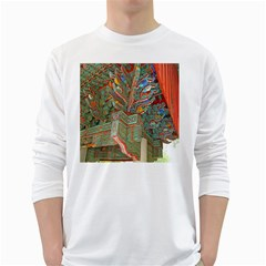 Traditional Korean Painted Paterns White Long Sleeve T-Shirts