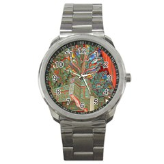 Traditional Korean Painted Paterns Sport Metal Watch