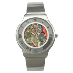 Traditional Korean Painted Paterns Stainless Steel Watch