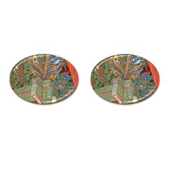 Traditional Korean Painted Paterns Cufflinks (Oval)