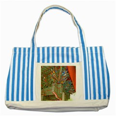 Traditional Korean Painted Paterns Striped Blue Tote Bag
