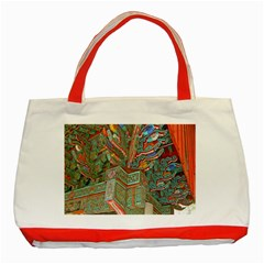 Traditional Korean Painted Paterns Classic Tote Bag (Red)