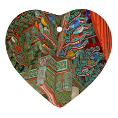 Traditional Korean Painted Paterns Heart Ornament (Two Sides)