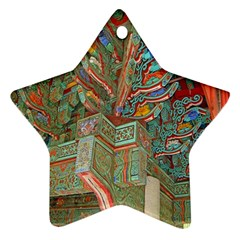 Traditional Korean Painted Paterns Star Ornament (Two Sides)