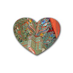 Traditional Korean Painted Paterns Rubber Coaster (Heart)