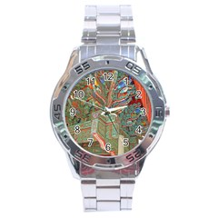 Traditional Korean Painted Paterns Stainless Steel Analogue Watch
