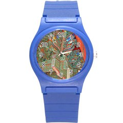 Traditional Korean Painted Paterns Round Plastic Sport Watch (S)