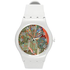 Traditional Korean Painted Paterns Round Plastic Sport Watch (m)