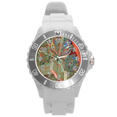Traditional Korean Painted Paterns Round Plastic Sport Watch (L)