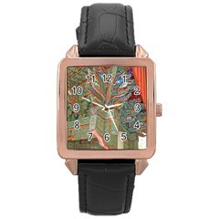 Traditional Korean Painted Paterns Rose Gold Leather Watch