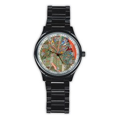 Traditional Korean Painted Paterns Stainless Steel Round Watch