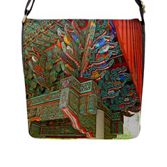 Traditional Korean Painted Paterns Flap Messenger Bag (L)