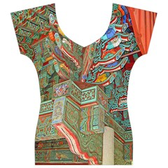 Traditional Korean Painted Paterns Women s V-Neck Cap Sleeve Top