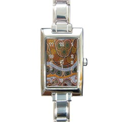 Aboriginal Traditional Pattern Rectangle Italian Charm Watch
