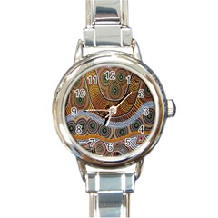 Aboriginal Traditional Pattern Round Italian Charm Watch