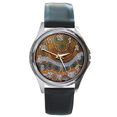 Aboriginal Traditional Pattern Round Metal Watch
