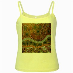 Aboriginal Traditional Pattern Yellow Spaghetti Tank