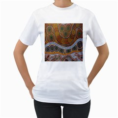 Aboriginal Traditional Pattern Women s T-Shirt (White) (Two Sided)