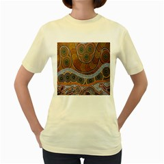 Aboriginal Traditional Pattern Women s Yellow T-Shirt