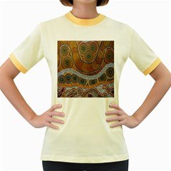 Aboriginal Traditional Pattern Women s Fitted Ringer T-Shirts