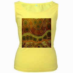 Aboriginal Traditional Pattern Women s Yellow Tank Top