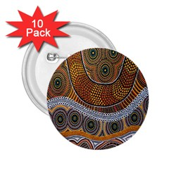 Aboriginal Traditional Pattern 2.25  Buttons (10 pack)