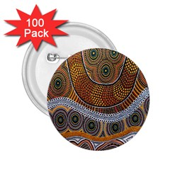 Aboriginal Traditional Pattern 2.25  Buttons (100 pack)